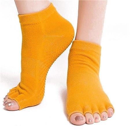 HAIYUGUAGAO 1 par de Calcetines de Yoga Antideslizantes de ...