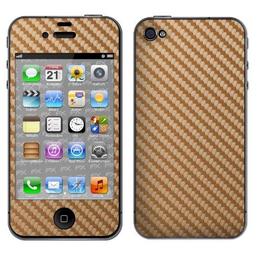atFoliX FX-Carbon-Gold Designfolie für Apple iPhone 4/4S