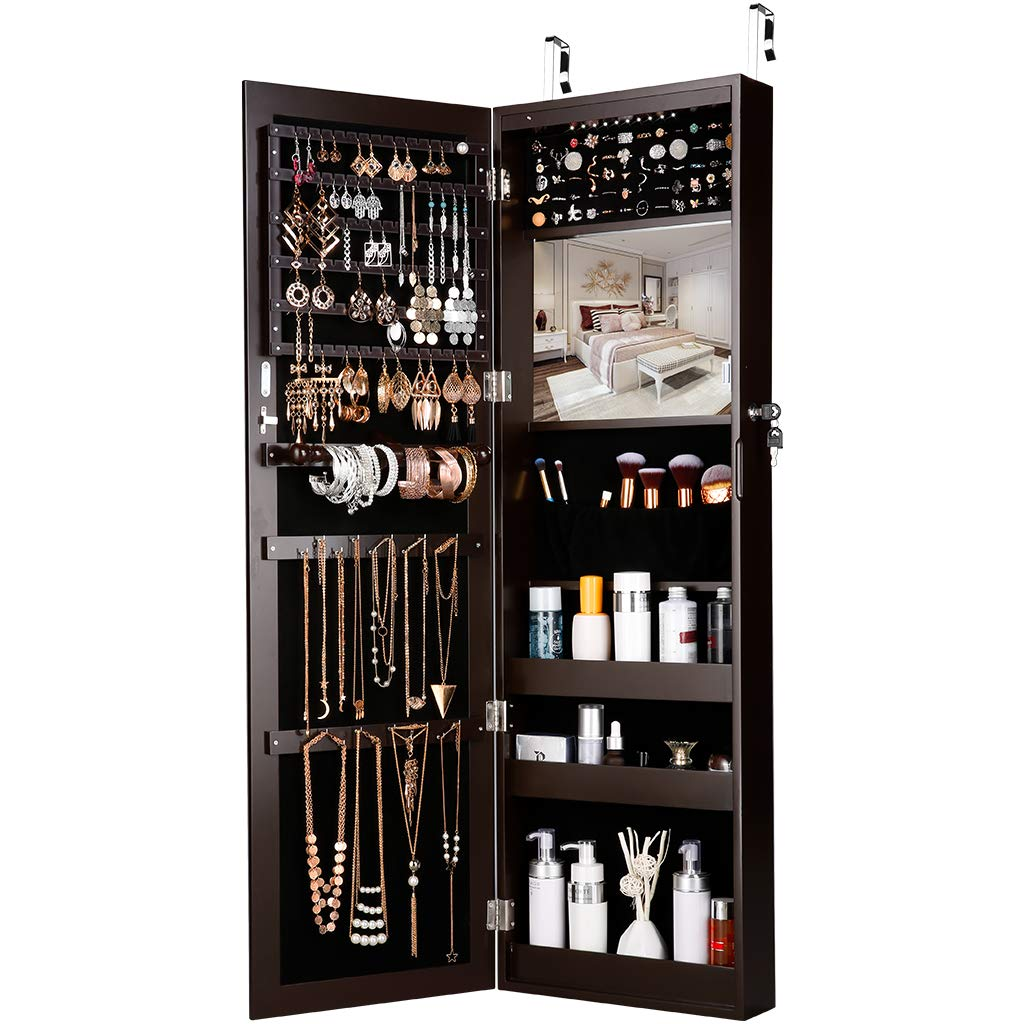 LANGRIA Mirrored Jewelry Armoire with 10 Automatic LED Lights and Full-Length Mirror Wall Door Mounted Cabinet Organizer with Spacious and Stylish Wooden Design for Necklaces, Rings, Bracelets (Brown)
