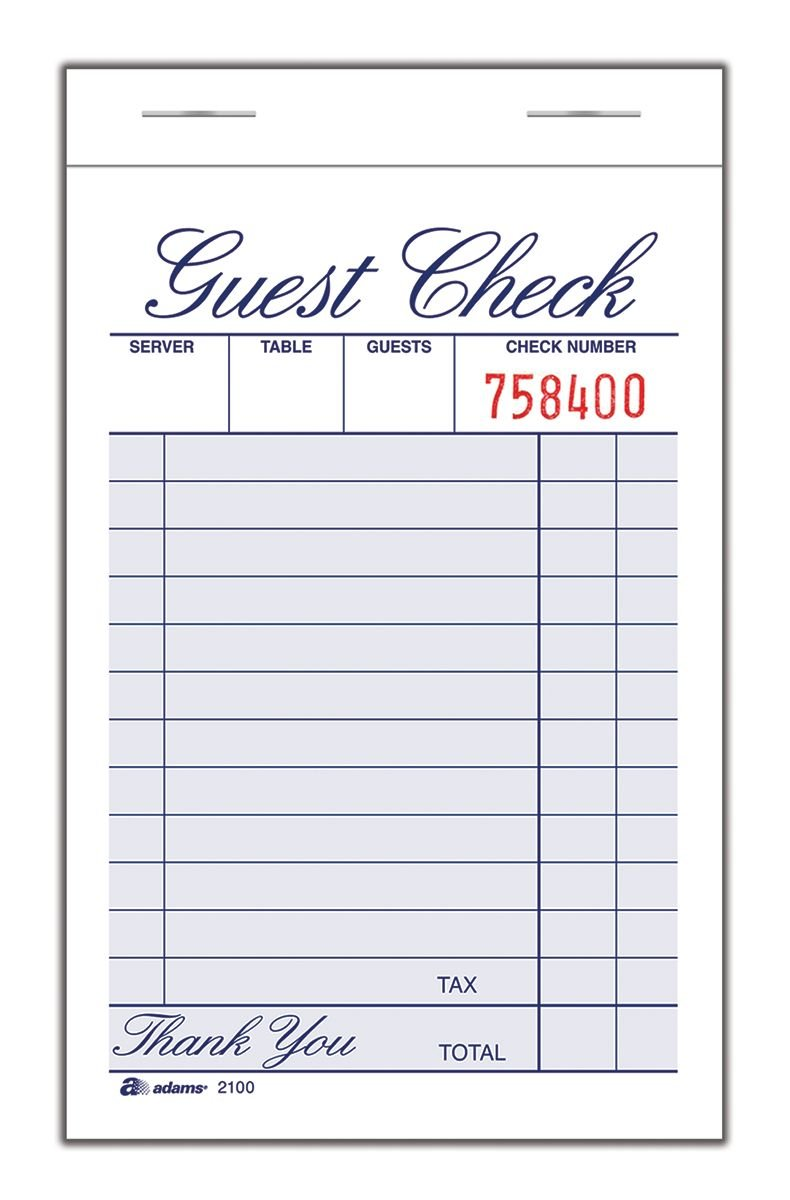 Adams Guest Check Pad, Single Part, White, 3-11/32'' x 5-7/16'', 100 Sheets/Pad, 12 Pads/Pack (2100-12)