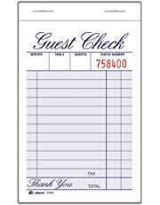 Adams Guest Check Pad, 1 Part, 3.34 x 5.44 Inches, 100 Sheets per Pad, 12 Pads per Pack, White (2100-12)