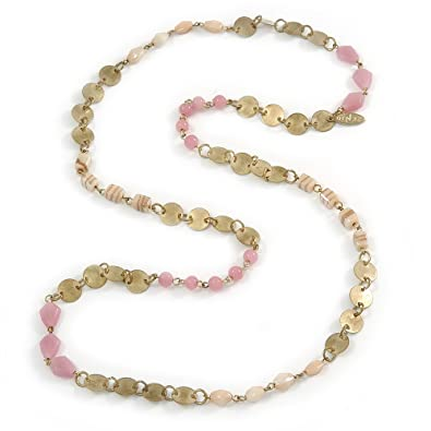 Avalaya Pink Glass, Ceramic Bead With Gold Tone Wire Long Necklace - 88cm L