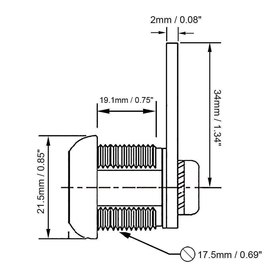 20mm Cylindre Zinc Alliage Chrome Finition Tubulaire serrure /à came cl/és diff/érente