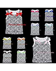 Juniors Girl Zebra Print Pettitop Tank Top Shirt wif Bows for Pettiskirt 1-8Year