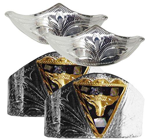 Modestone 4 Pcs Nickel Silver Boot Caps: 2 x Bull Heel + 2 x Filigree Toe - Cowboy Boot Toe Caps