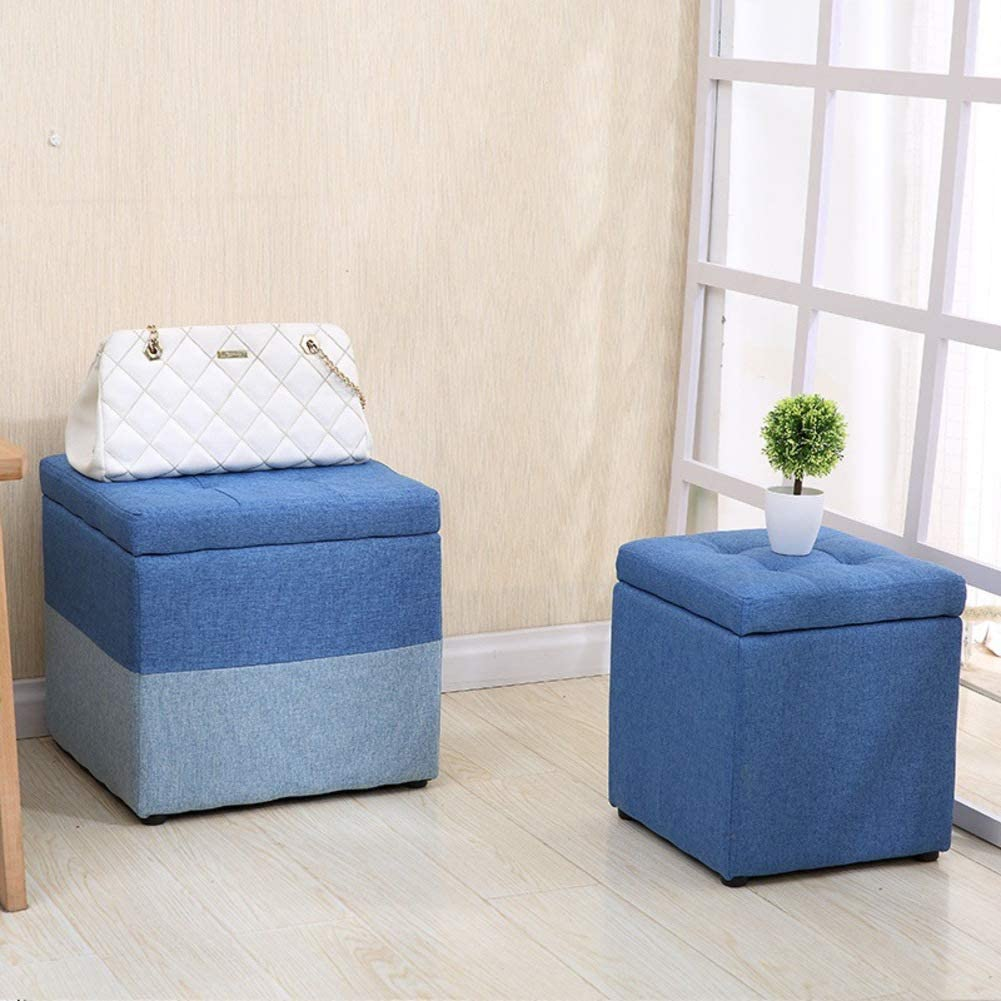 YXZQ Upholstered Storage ottoman With hinged lid, Square Cotton linen Footrest stool Small Cube Footstool-Orange Dark Blue