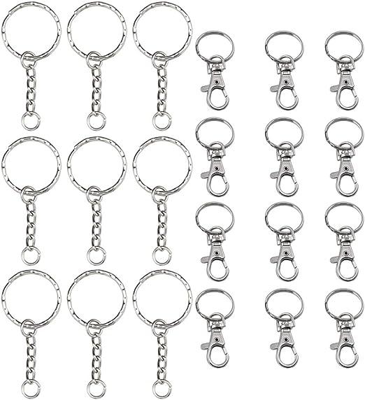 5 llaveros con pequeño cadena color plata anillo de claves metal