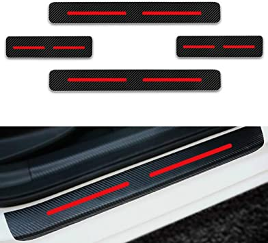 for Ford Ranger Door Sill Protector Reflective 4D Carbon Fiber Sticker Door Entry Guard Door Sill Scuff Plate Stickers Auto Accessories 4Pcs Red