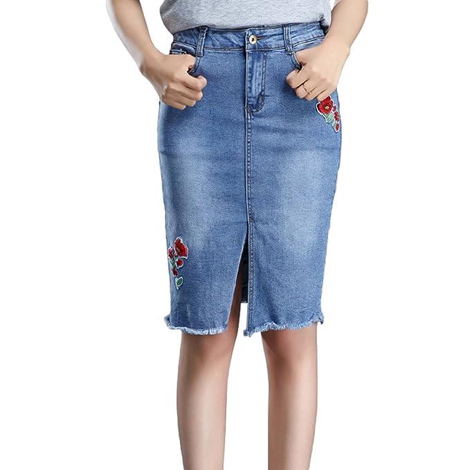 Yuanu Mujer Verano Rosas Bordado Grande Tamaño Denim Falda Cómodo Transpirable Front Split Burrs A-Line Falda: Amazon.es: Ropa y accesorios