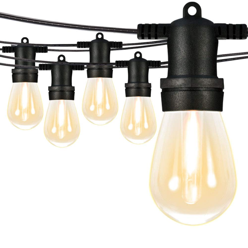 SUNTHIN 96Ft LED Outdoor String Lights S14 Black Hanging Loops with 32 Sockets and 33 Shatterproof LED Bulbs Included 1 Spare Plastic Bulbs 2700K ETL Approved for Patio Porches Bistro by SUNTHIN