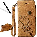 Flip Case for Huawei P9 Lite,Wallet Case for Huawei P9 Lite,Leeook Retro Elegant Light Brown Rose Flower Leaf Creative Pattern Design Luxury PU Leather Magnetic Closure Buckle Flip Wallet Folio Inner Soft TPU Case with Card Slots Stand Function Book Style Strip Bumper Cover Case for Huawei P9 Lite + 1 x Free Black Stylus