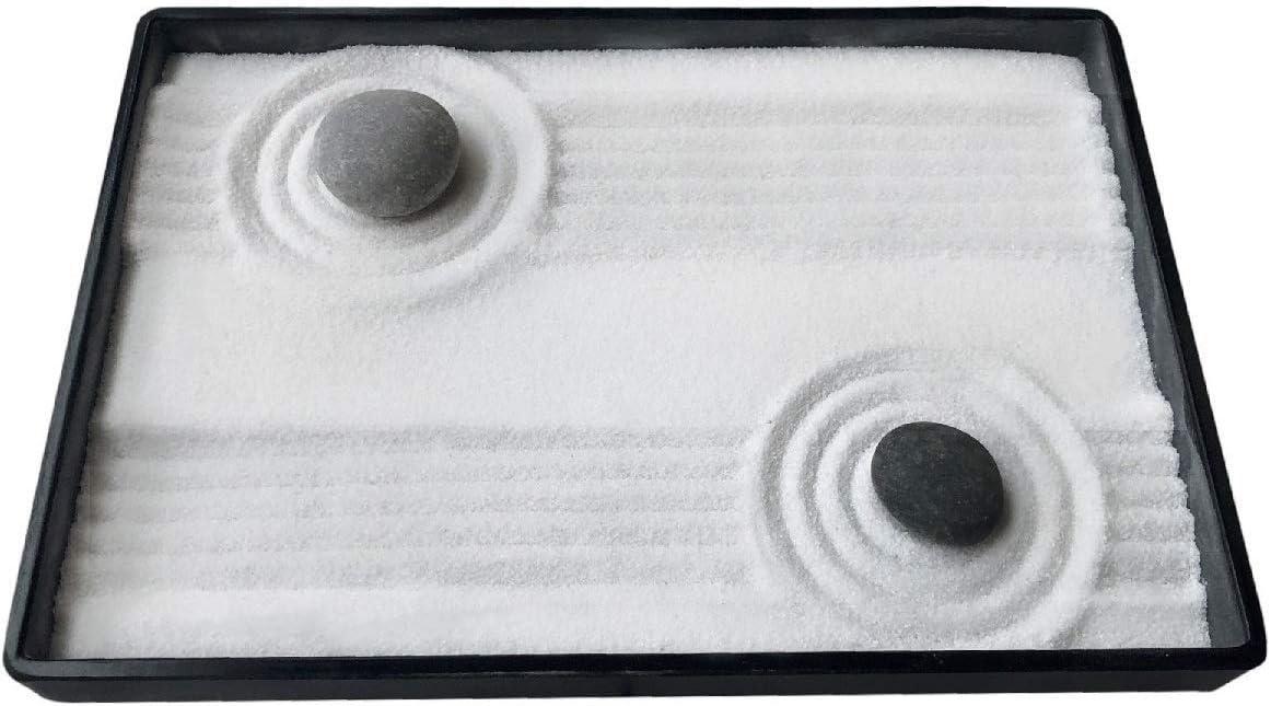 ICNBUYS Mini Zen Garden Desk con rastrillo libre bambú pluma empujando arena Zen jardín dibujo guild pluma y piedras de río seleccionado bien lleno bandeja de regalo dimensiones 10 x 7 pulgadas