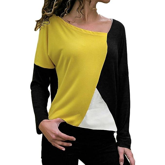 OHQ Camiseta Mujeres Blusas Moda Casual Patchwork Color Block O-Cuello Camiseta Manga Larga Blusa