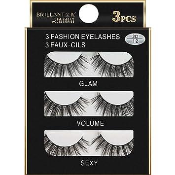b069fa11d62 Amazon.com : Women Eyelashes, Honhui BRILANT 3 Pairs 3D Long Cross Makeup  Natural False Eyelashes Soft Fake Lash (F) : Beauty