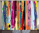 Ambesonne Abstract Curtains, Multicolored Expressionist Work of Art Vibrant Rainbow Design Tainted Pattern, Living Room Bedroom Window Drapes 2 Panel Set, 108 W X 96 L Inches, Multicolor