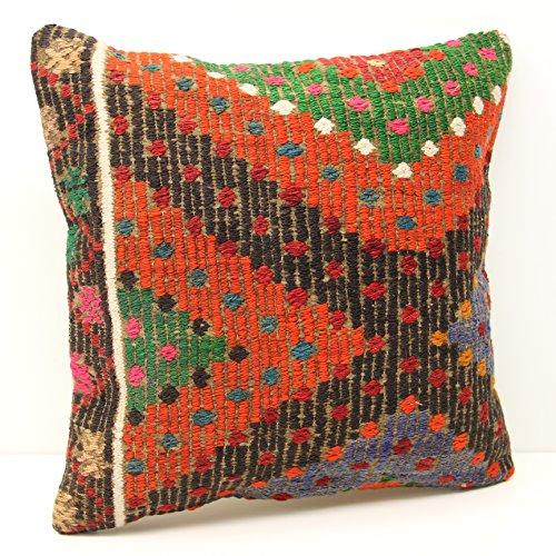 Decorative Throw Pillow Floor Cushion Cover Organic Accent Boho Pillow 18x18 Handmade Kilim Pillow Turkish Kilim Pillow Home Decor