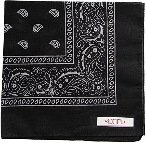Bandana Black Cotton (Soophen Paisley One Dozen Cowboy Bandanas (Black 22 X 22 in, 12-Pack))