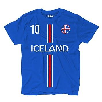 KiarenzaFD Camiseta Camiseta Fútbol Gylfi Selección Sigurdsson Islandia 10 Shirts, KTS01869-S-Blu