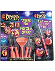 Pumpking Masters Canada's Favourite Pumpkin Carving Kit Bundle of 2 Items Including 1 Carving Kit with 3 Saws 1 Scraper Scoop 1 Poker and 1 4 in1 Carving Tool