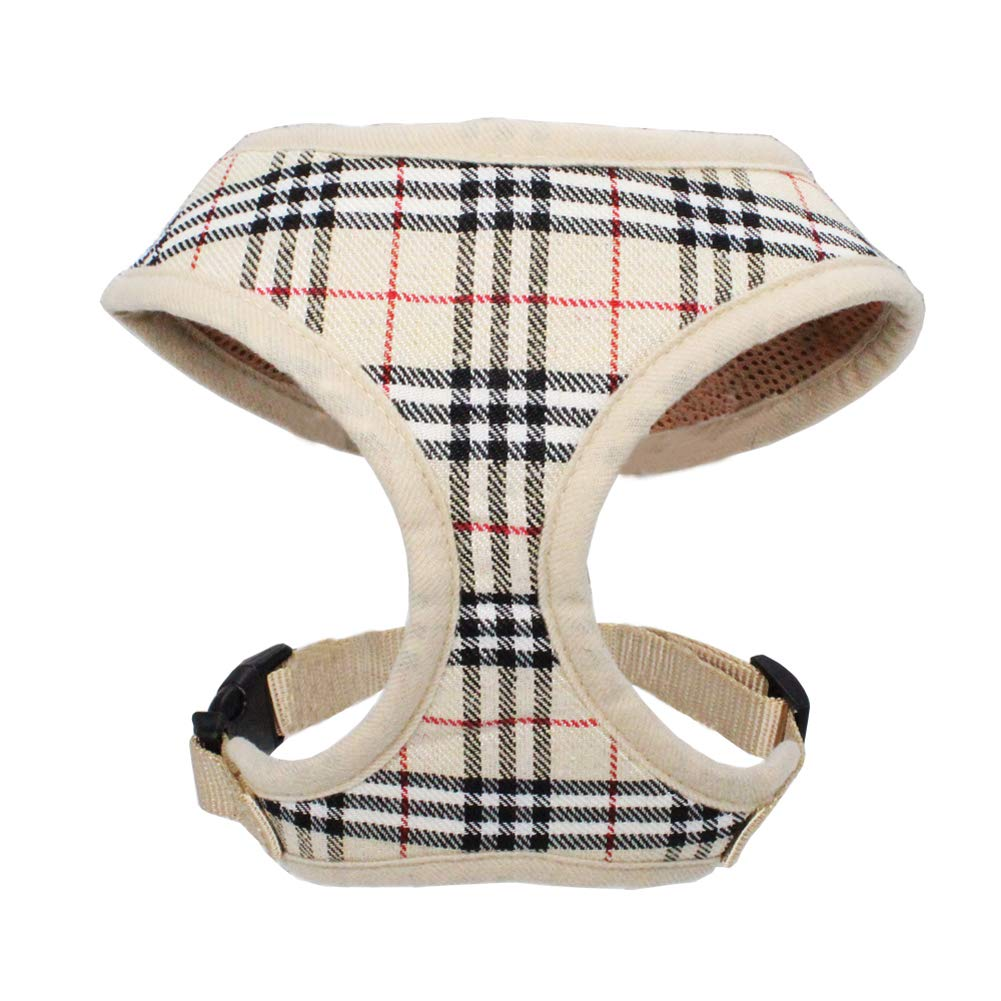 Cream XS Cream XS WONDERPUP Plaid Dog Cat Harness with Comfort Soft Mesh No Pull Durable for Small Puppy Walking (XS, Beige)