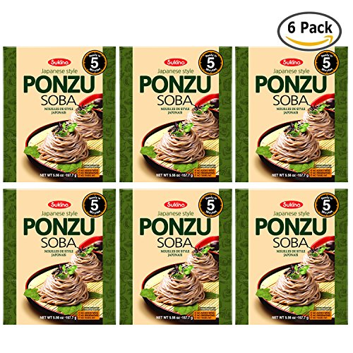 Price comparison product image Sukina Fresh Japanese Ponzu Buckwheat Soba, Healthy Non Fried Noodle Soup [No MSG, No Trans Fat] Easy Cook in 5 Minutes / 5.6 oz per Meal (Pack of 6)