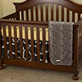 3 Piece Baby Girls Black White Brown Zebra Print Crib Bedding Set, Newborn Animal Themed Nursery Bed Set Infant Child Polka Dots Pattern Cute Adorable Blanket Comforter, Cotton Polyester