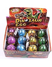 Graces Dawn 12 pack Dinosaur Egg Cute Magic Growing Dinosaur Egg Add Water Child Gift Hatching Inflatable Toy(Color cracks)