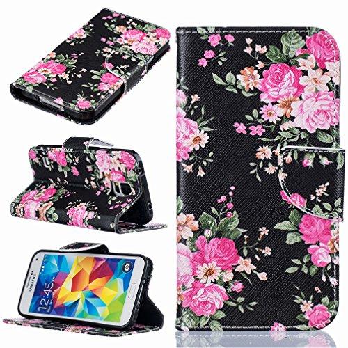 Yiizy Samsung Galaxy S5 G900F Custodia Cover, Rose Design Sottile Flip Portafoglio PU Pelle Cuoio Copertura Shell Case Slot Schede Cavalletto Stile Libro Bumper Protettivo Borsa