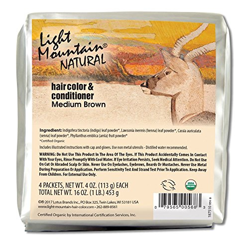 Light Mountain Natural Bulk Hair Color and Conditioner, Medium Brown, 16 Ounce ()