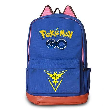 Pokemon Go Mochila Escolar Hombro Mochila Lienzo Bolsas De Viaje Para Mujeres Hombres Niñas Niños Azul