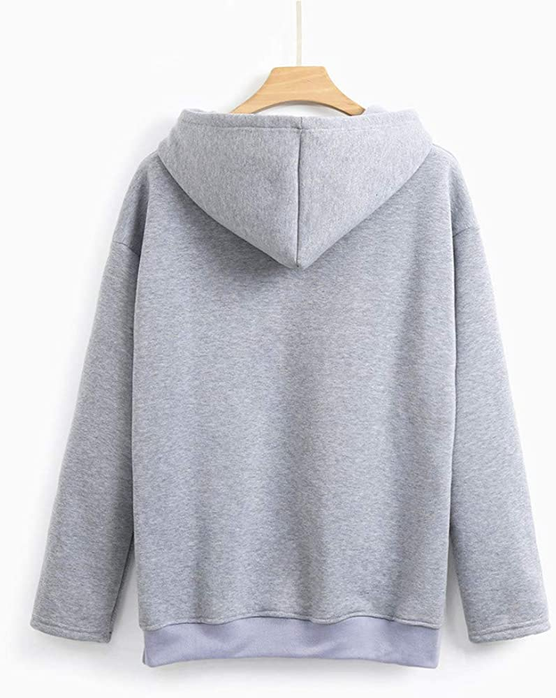 Women Teen Girls Autumn Long Sleeve Pockets Sweatshirt Solid Hooded Pullover Top Blouse