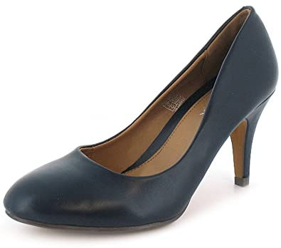 0f09036e08dee Womens Ladies Navy Blue Mid Heel Court Shoes With Rounded Toes - Navy - UK