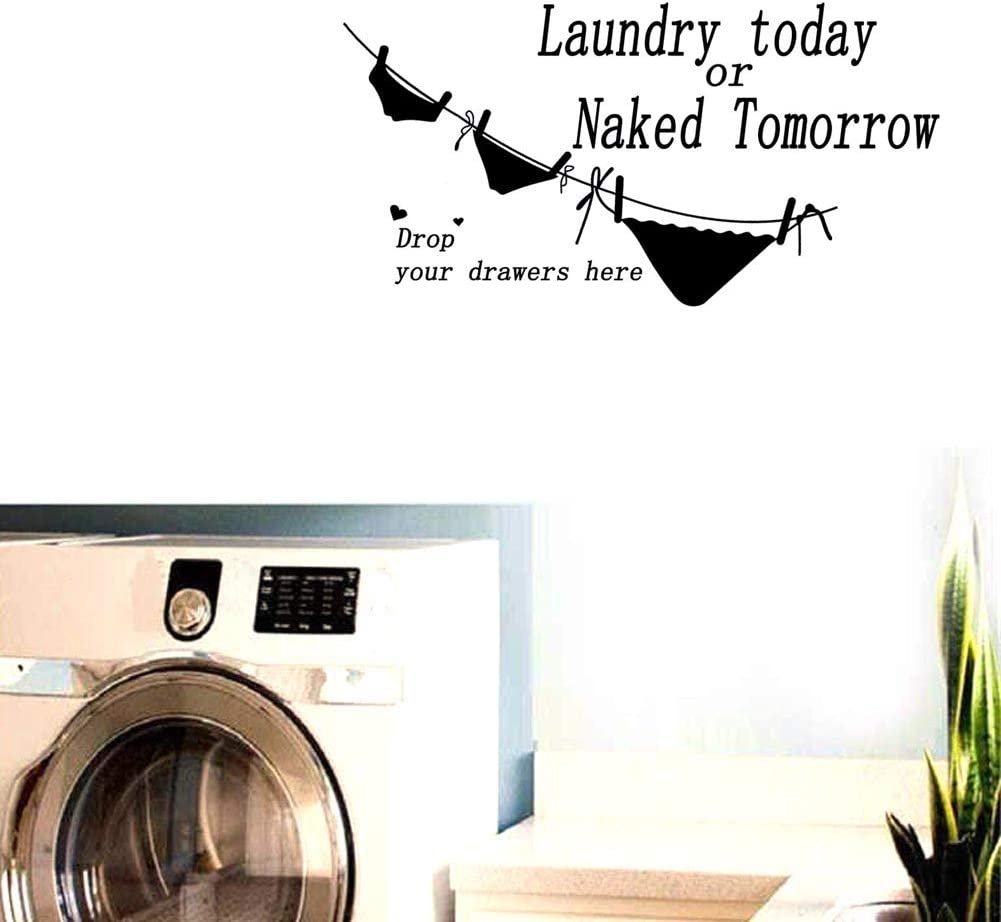 "BIBITIME ""Laundry Today or Naked Tomorrow Hanging Sexy Underwear Funny Wall Sticker for Shower Room Bathroom Vinyl Toilet Stickers Washstand Wall Sticker Decor Decal Removable Sticker"