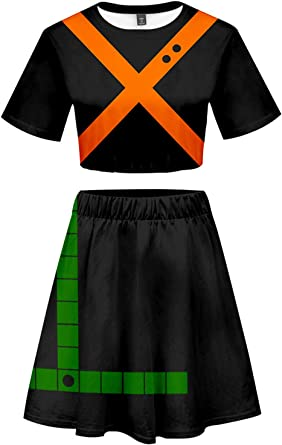 My Hero Academia Bakugou Katsuki Cosplay Costume Cheerleader Cheerleading Uniform Crop Top Dress