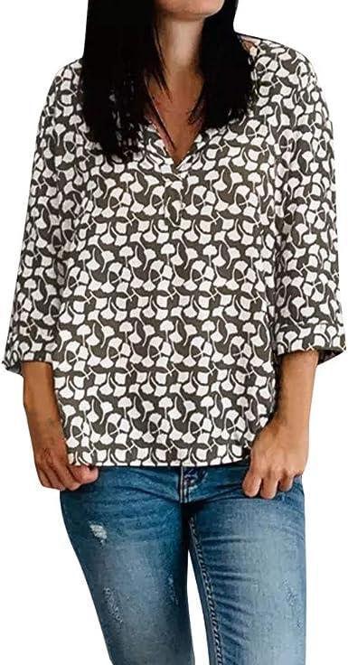 TOPKEAL Camisa de Manga Larga Estampada de Hojas para Mujer Blusas Casuales con Lunares Manga Mitad de Damas: Amazon.es: Ropa y accesorios