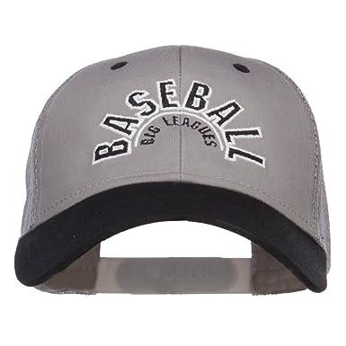 77a5334056a58 E4hats Baseball Big League Embroidered Trucker Cap - Black Grey OSFM ...