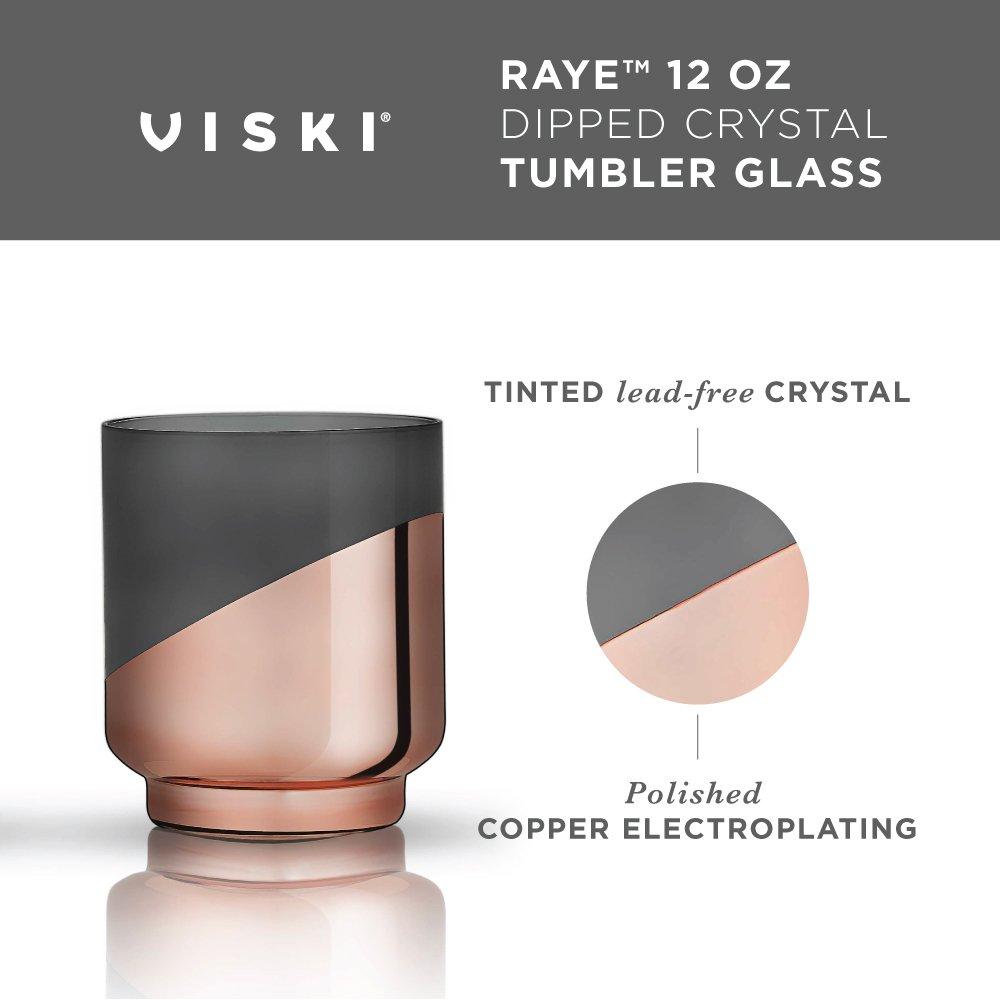 Viski 5315 Raye Dipped Crystal Champagne Flutes Set of 2 Copper