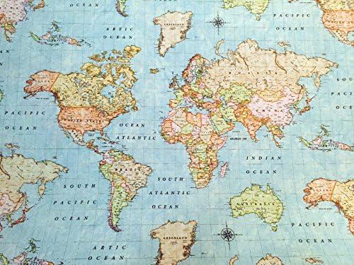 Mapa Del Mundo Algod/ón Azul Alta Calidad Fabric Material A4 Sample