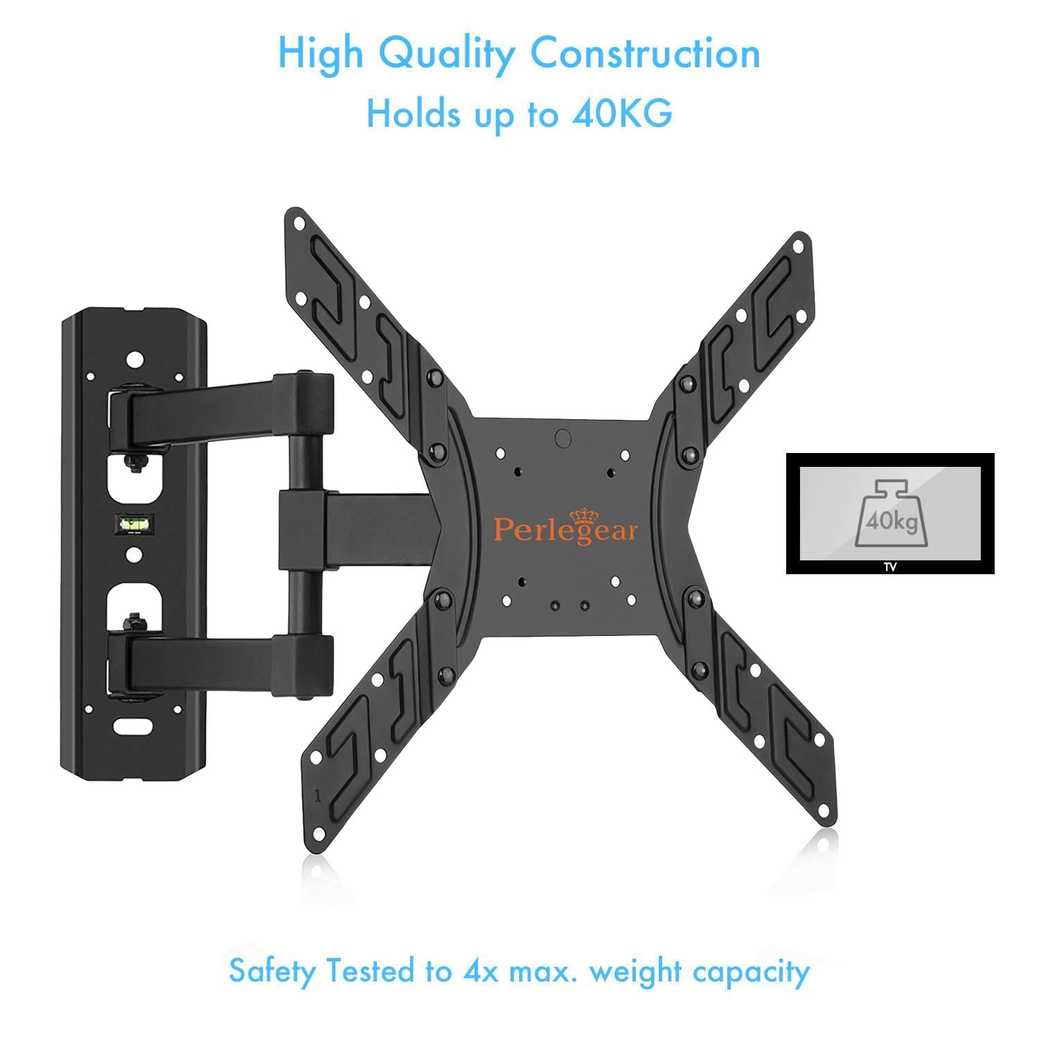 "Perlegear TV Wall Mount Bracket - Extends 16"" & Swivels - TV Mount fits 23""-55"" TVs, Holds up to 66lbs, Slim Appearance - Bonus 10ft HDMI Cable, Concrete Anchors Plus More"
