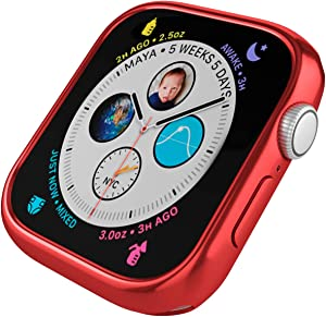 Case for Apple Watch 40mm Series 6 Series SE Series 5 Series 4 360x All Around Full Body Protective Case with Built in TPU Screen Protector (Red)