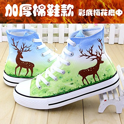 Painted Shoes Shoes Deer colored High Cashmere Shoes Help cotton Shoes Shoes Sika Fresh With GUNAINDMXHand Spring Shoes the Shoes in Thickening deer Canvas Sd5pxdIqw