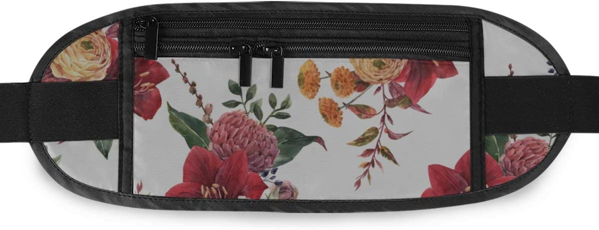 Travel Waist Pack,travel Pocket With Adjustable Belt Floral Pattern Red Amaryllis Flowers Running Lumbar Pack For Travel Outdoor Sports Walking