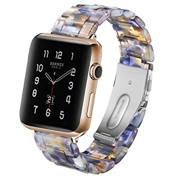 TOPsic Compatible con Apple Watch Correa 38mm/40mm/42mm/44mm, Fashion Resin Bracelet Banda de Reloj con Hebilla de Acero Inoxidable Correa para iWatch ...