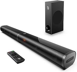 BOMAKER 190W Sound Bars for TV, 2.1 TV Sound Bar with Subwoofer, 125dB, 6 EQ Modes, LED Display Off, 5 Bass Adjustable Surround Sound, Outdoor Sound Bar, 4K & HD TV, Optical/AUX/USB/ARC HDMI Soundbar