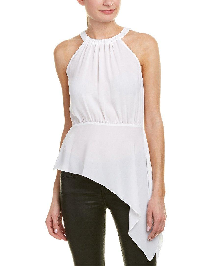 BCBGMAXAZRIA Women's Caryn Asymmetrical Drape Top, White, L