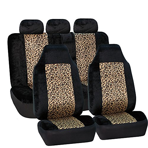 FH Group FB126BROWN115 Brown Classic Leopard Animal Print Split Bench Car Seat Cover (Full Set Airbags Ready) (Print Animal Covers Seat)