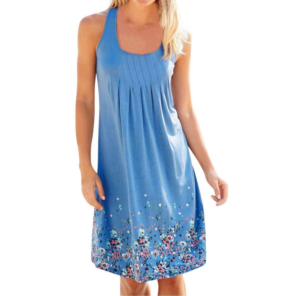 Women Bohemian Sundress Summer Loose Floral Printed Casual A Line Mini Vest Dresses Sleeveless Tank Dress (Blue A, M)