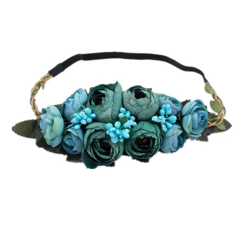 Flowers Bud braids Wreath Hairband Wedding Garland Elastic Headband for Wedding Festivals