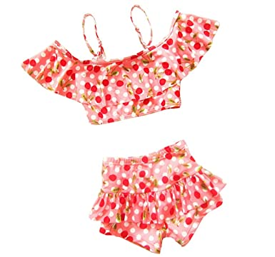 47090cc0b09 Losorn Toddler Baby Girl's Cherry Two Pieces Tankini Swimsuit pink L