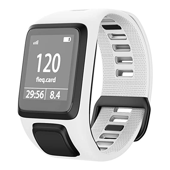 NotoCity Compatible with Tomtom Watch Band Silicone Watch Strap Replacement for Spark/Spark 3/Golfer 2/Adventurer/Runner 2/3 Smartwatch(White)